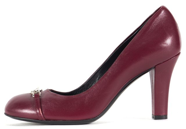 GUCCI Burgundy Red Leather Silver Chain Pump Heels