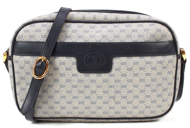 GUCCI Navy Blue Monogram Coated Canvas Leather Trim Crossbody