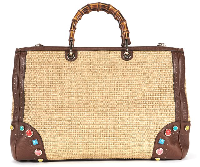 GUCCI Brown Stone Embellished Raffia Bamboo Shopper Tote Shoulder Bag