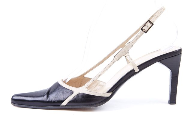 GUCCI Black Beige Leather Pointed Toe Slingback Heels