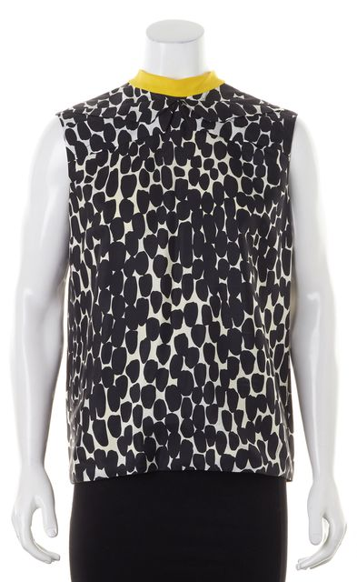 GUCCI Black Yellow White Silk Abstract Back Keyhole Clamp Blouse