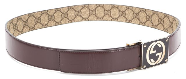 GUCCI Brown Coated Canvas Reversible Interlocking GG Buckle Plaque Belt