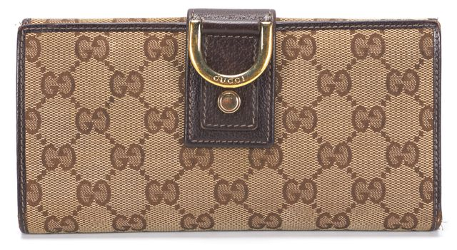 GUCCI Brown GG Canvas Leather Trim Continental Bi Fold Wallet