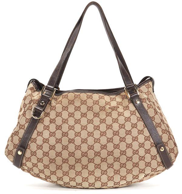GUCCI Brown GG Canvas Leather Trim Abbey Shoulder Bag