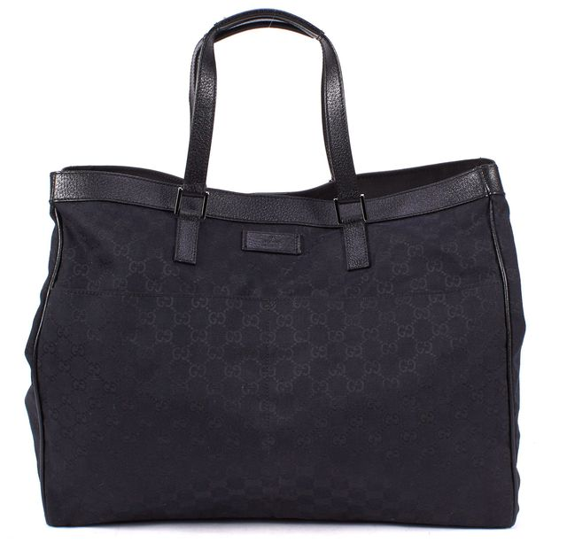 GUCCI Black GG Canvas Leather Trim Large Tote Bag