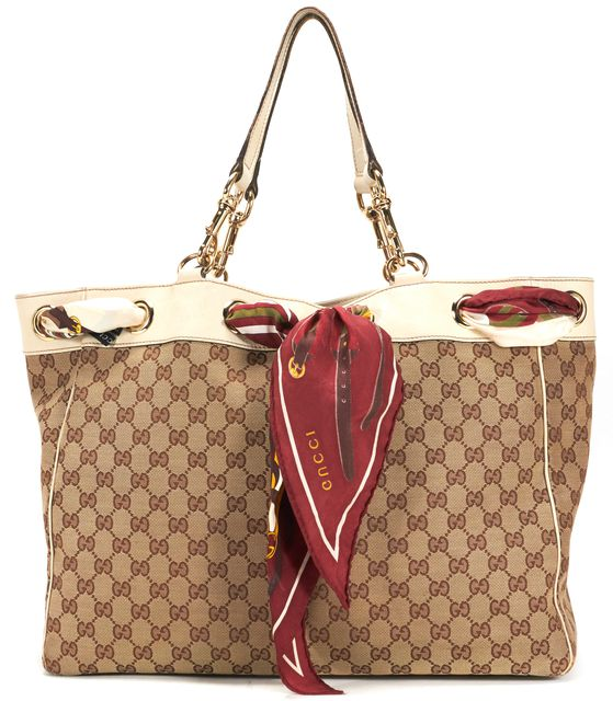 GUCCI Brown Ivory GG Canvas Leather Trim Positano Scarf Tote Shoulder Bag