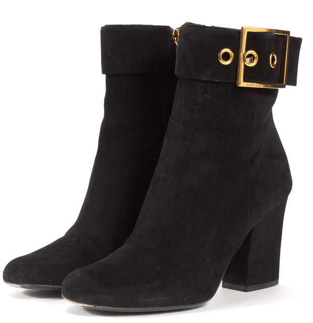 GUCCI Black Suede Buckle Block Heeled Ankle Boots