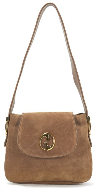 GUCCI Tawny Brown Suede Leather Adjustable Strap '1973' Shoulder Bag