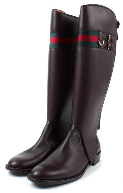 GUCCI Brown Leather Signature Web Convertible Riding Boots
