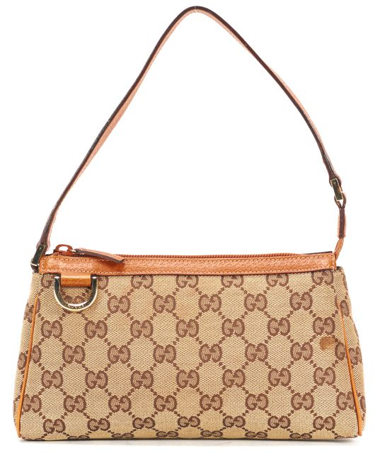 GUCCI Brown GG Canvas Leather Trim Abbey D Ring Pochette Shoulder Bag