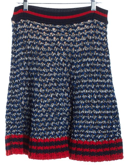 GUCCI Blue Red Knit Striped A-Line Skirt