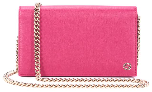 GUCCI Pink Leather Wallet On Chain Crossbody Shoulder Bag