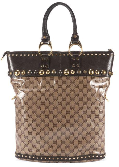 GUCCI Brown GG Coated Canvas Babouska Studded Tote Shoulder Bag