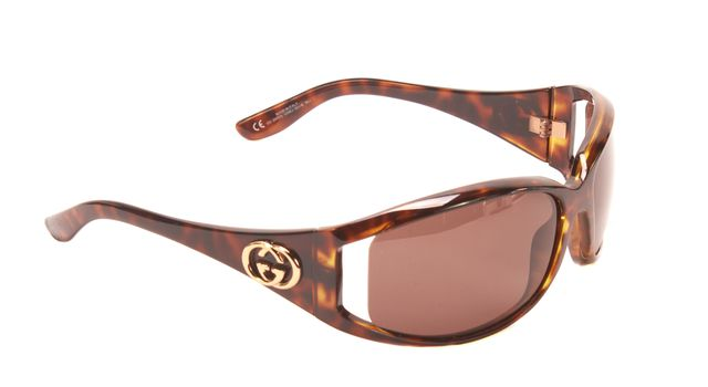 GUCCI Brown Tortoise Shell Gold GG Embellished Rectangular Sunglasses w/ Case