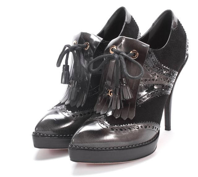 GUCCI Black Gray Ombre Patent Leather Kiltie Tassel Loafer Heels
