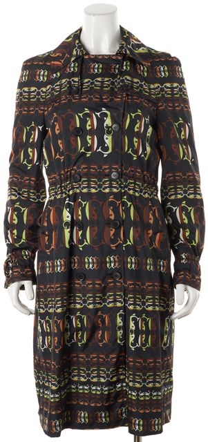 GUCCI Brown Black Abstract Trench Coat