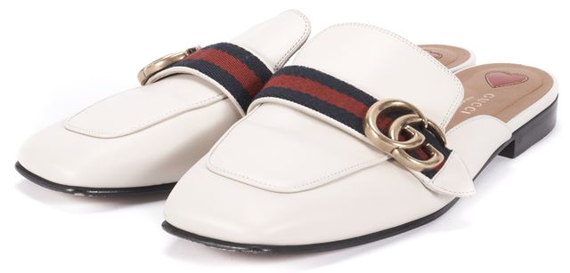 GUCCI White Leather Peyton GG Marmont Web Loafer Mules