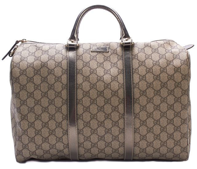 GUCCI Brown GG Monogram Coated Canvas Boston Top Handle Bags