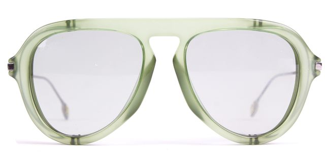 GUCCI Transparent Green Metal-Blinker Aviator Sunglasses