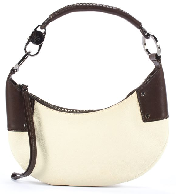 GUCCI Solid Beige & Brown Leather Top Handle Shoulder Bags