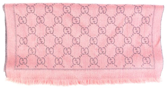 GUCCI Pink & Purple GG Monogram Print Abstract Knit Scarf