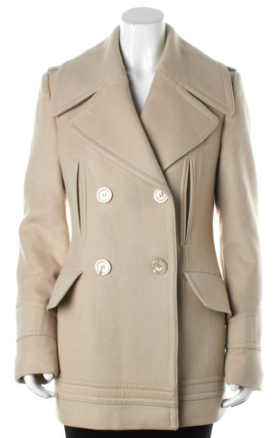 GUCCI Beige Double-Breasted Peacoat Jacket