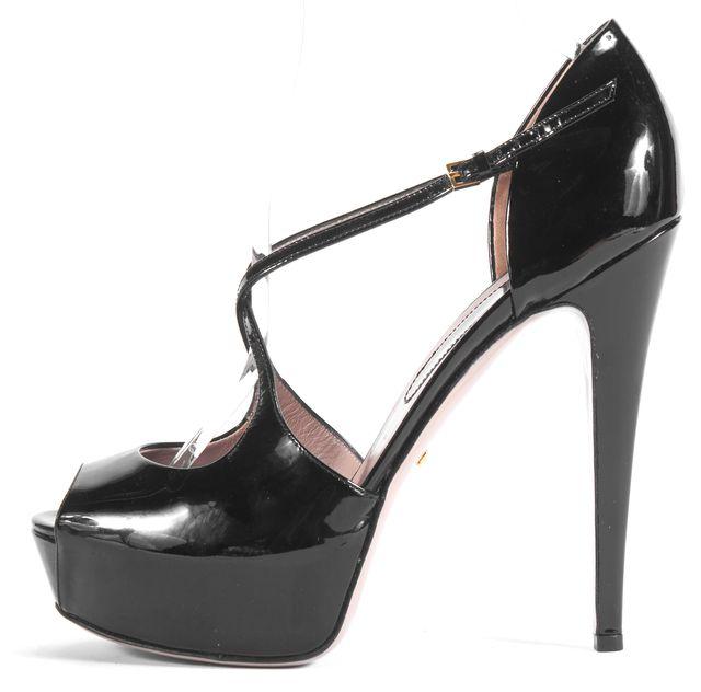 GUCCI Black Patent Leather Peep Toe Criss-Cross Platform Heels