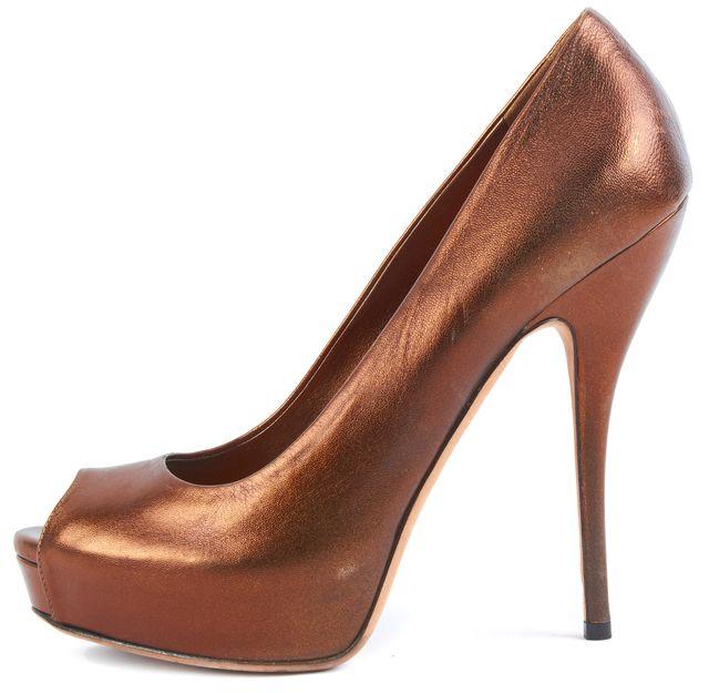 GUCCI Bronze Metallic Brown Leather Peep Toe Platform Heels