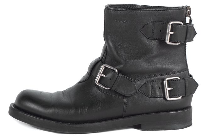 GUCCI Black Leather Buckle Ankle Boot Boots