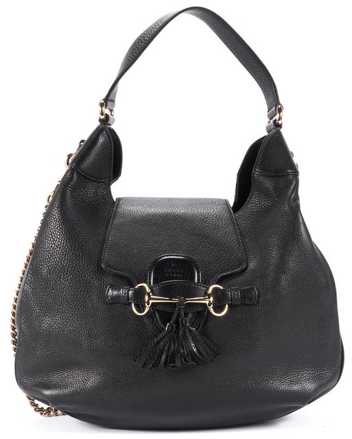 GUCCI Black Leather with Gold Detachable Chain Shoulder Hobo Bag
