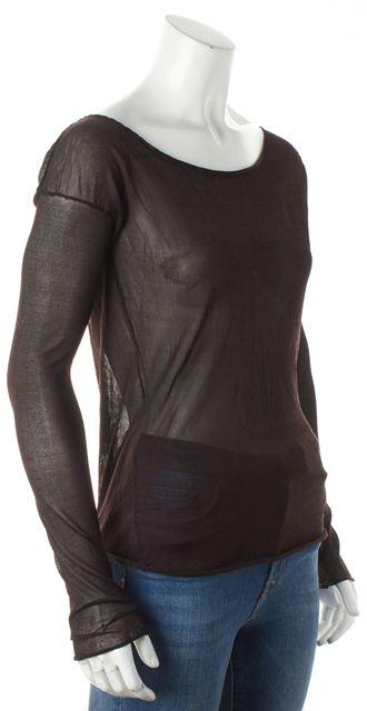 GUCCI Brown Long Sleeve Sheer Raw Edge Hem Silk Boat Neck Knit Blouse