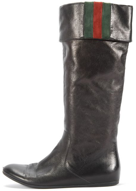 GUCCI Black Leather Web Mid-Calf Boots Tall Boots Size US 6.5 IT 36.5