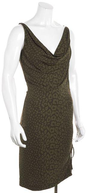 GUCCI Green Leopard Animal Print Sleeveless Sheath Dress
