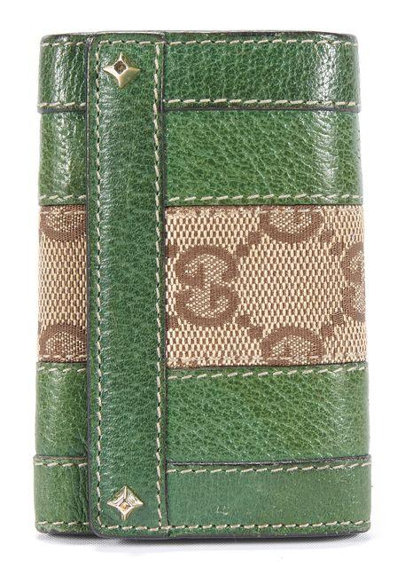 GUCCI Green Leather Key Chain & Bag Charm