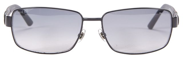 GUCCI Black Branded Web Embossed Polarized Rectangular Sunglasses