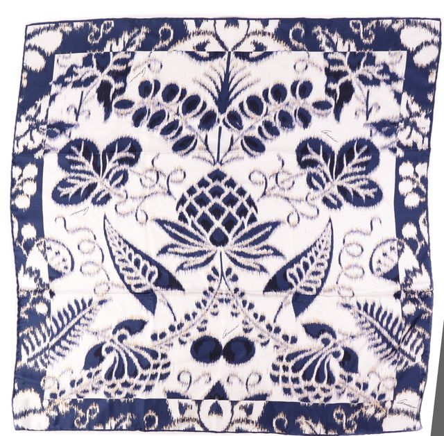 GUCCI Blue White Beige Floral & Paisley Silk Scarf