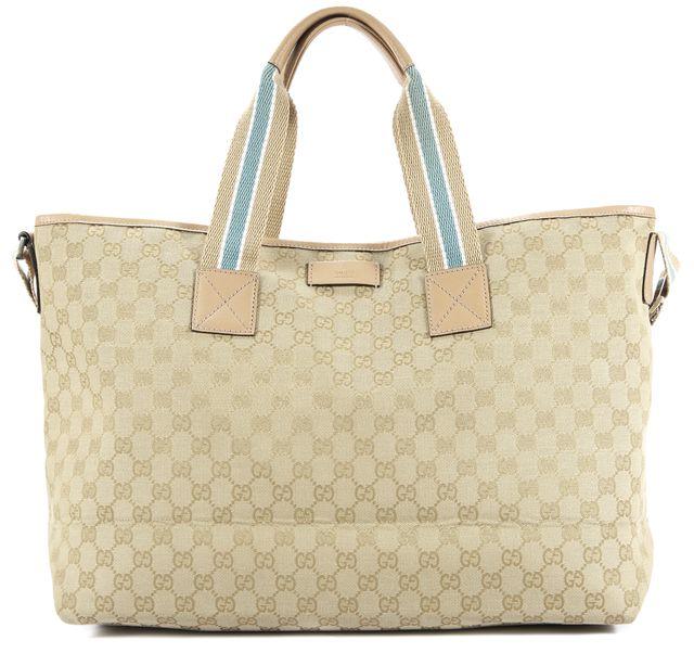 GUCCI Beige Monogram 2way Shoulder Handbag Canvas Leather Tote