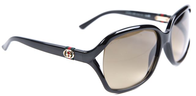 GUCCI Black GG Logo Arm Rectangular Sunglasses