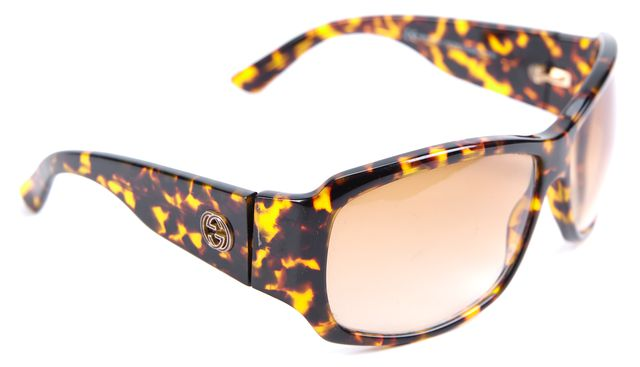 GUCCI Brown Tortoise Shell Rectangular Sunglasses
