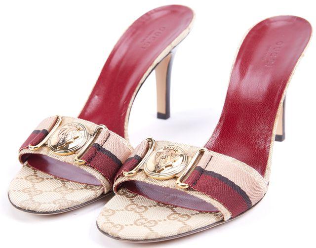 GUCCI Beige Burgundy Multi-color Striped Open Toe Sandal Heel