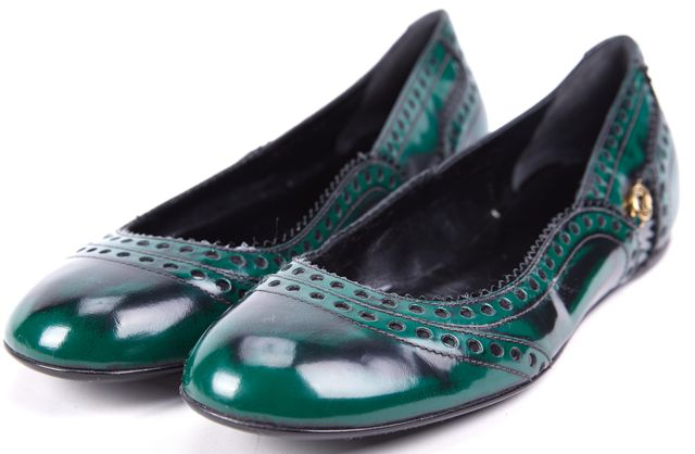 GUCCI Green Black Leather GG Brogue Trim Barclay Ballet Flats