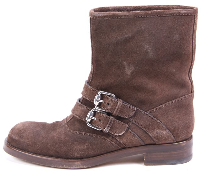 GUCCI Cocoa Brown Suede Margarett Flat Ankle Boots