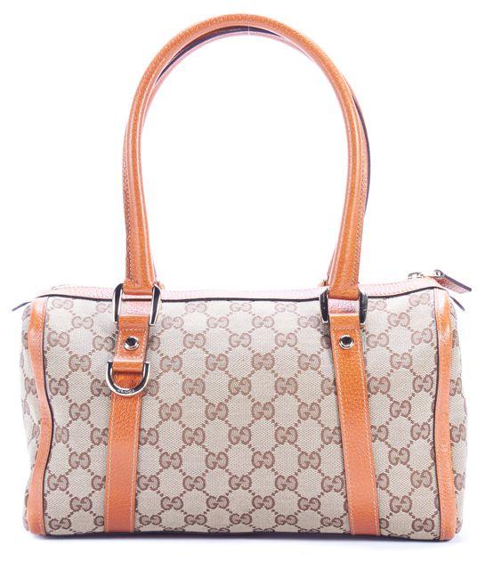 GUCCI Brown Monogram Canvas Leather Trim Mini Shoulder Tote Bag