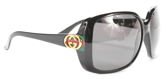 GUCCI Black and Gold GG Logo D283H Rectangular Sunglasses