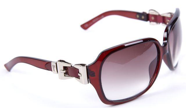 GUCCI Brown Silver Detailed Acetate Rectangular Sunglasses
