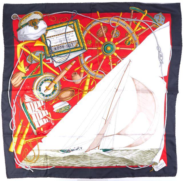 GUCCI Blue Nautical Theme Silk Scarf