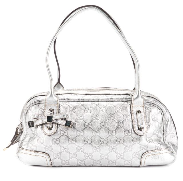 GUCCI Metallic Silver Logo Embossed Leather Satchel Top Handle Bags