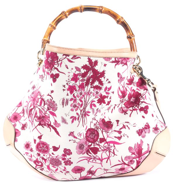 GUCCI Purple Floral Flora Peggy Bamboo Hobo Bag
