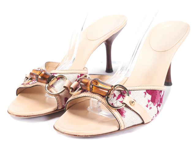 GUCCI Multi-color Floral Flora Bamboo Open Toe Slip On Sandals