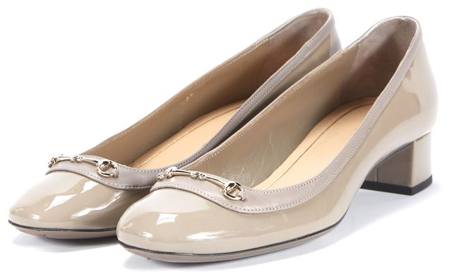 GUCCI Gray Patent Leather Slip-on Heels Size US 6.5 IT 36.5